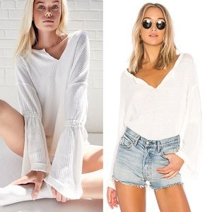 Free People • Dahlia Ivory Bell-sleeved Thermal.